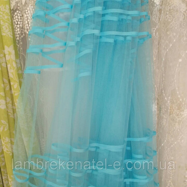 Тюль сетка с голубыми полосками