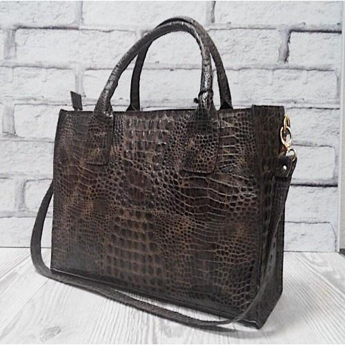 Коричневая сумка натуральная кожа под крокодила 1693