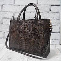 Коричневая сумка натуральная кожа под крокодила 1693, фото 1