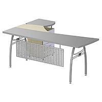Стол с экраном М470 АртМобил (1830х1670х760мм) клен и серый/кромка серый металлик/металлический каркас (AMF-ТМ
