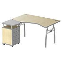 Стол с тумбой М96 АртМобил (1600х900/1630х760мм) клен/ кромка серый металлик/металлический каркас (AMF-ТМ)
