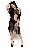 Кружевной женский черный халат