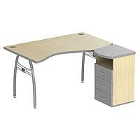 Стол с тумбой М434 АртМобил (1400х740/1420х760мм) клен/кромка серый металлик/металлический каркас (AMF-ТМ)