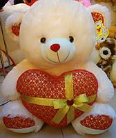 Мягкая плюшевая шекарная игрушка медведь с серцем музыкальный поет песню идеальный подарок мишка.