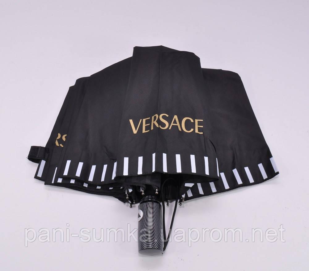 """Женский брендовый зонт полуавтомат Versace черный - Интернет магазин """"Pani Sumka"""" в Одесской области"""