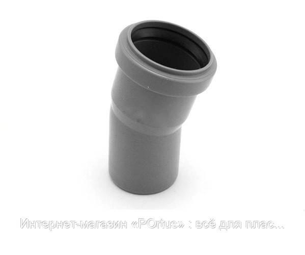 Отвод (колено) 50х22º ПП Инсталпласт с раструбом и уплотнительным кольцом для внутренней канализации серый