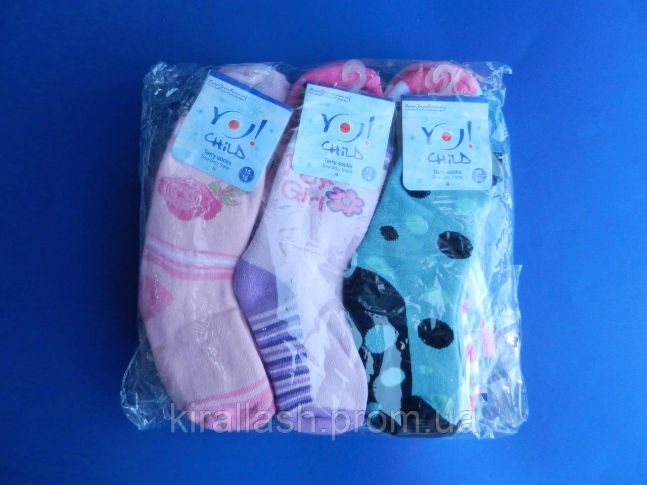 """Носки (25-27 размер, 15-16 см) махровые для девочек """"YO SCORPIO""""  ПОЛЬША"""