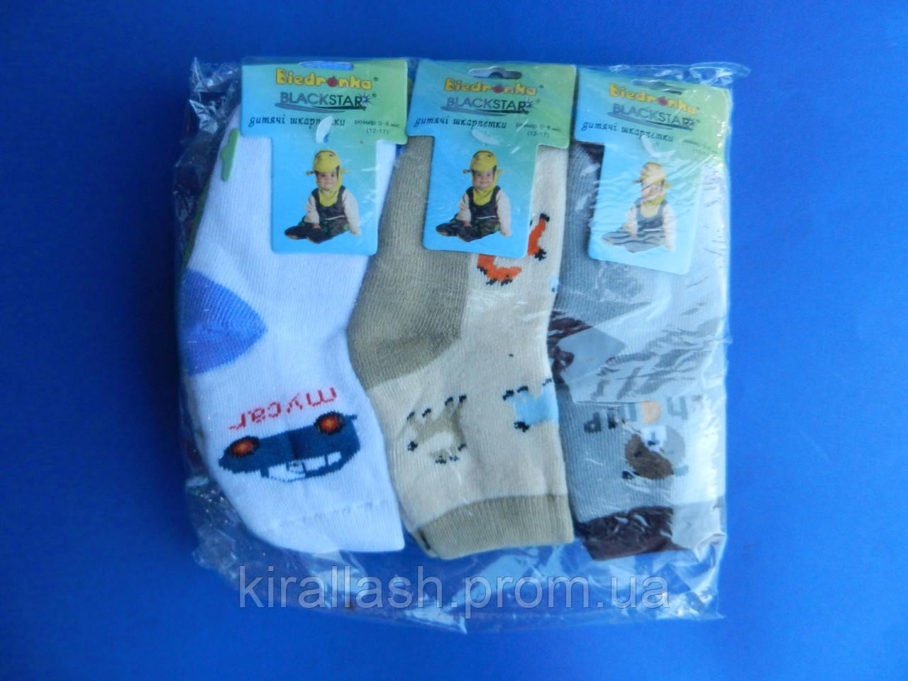 """Носки (0-6 месяцев) махровые """"Biedronka"""" для мальчиков  УКРАИНА"""