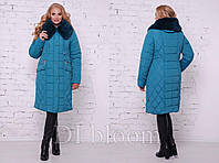 Женское пальто зимнее большого размера на синтепоне с капюшоном синего цвета