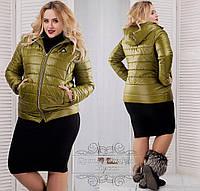Теплая женская зимняя синтепоновая короткая батальная куртка с капюшоном р-ры 58-56. Арт-1352/37