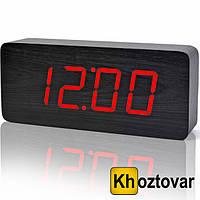 Электронные цифровые настольные часы с красной подсветкой деревянные VST-865-1