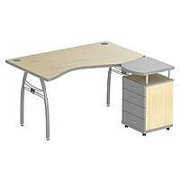 Стол с тумбой М90 АртМобил (1400х900/1630х760мм) клен/ кромка серый металлик/металлический каркас (AMF-ТМ)