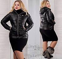 Черная женская зимняя синтепоновая короткая батальная куртка с капюшоном. Арт-1354/37