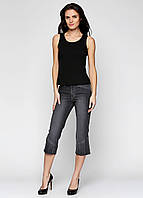 Модные джинсовые капри женские черного цвета Miss