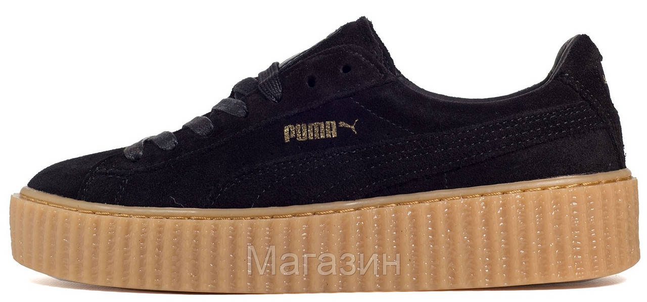 Женские кроссовки Puma Suede Creeper by Rihanna (в стиле Пума Рианна  Крипер) черные 6d9abbc67e4