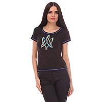 Женская футболка с вышитым гербом трицуб размер: С,М,Л,ХЛ,ХХЛ