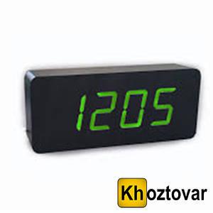Электронные цифровые настольные часы с зеленой подсветкой деревянные VST-865-4