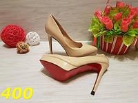 Туфли женские лодочки с красной подошвой бежевые