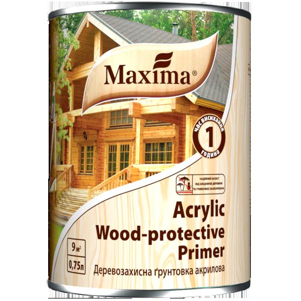 Деревозахисна акрилова грунтовка Maxima, безбарвна 0,75 л