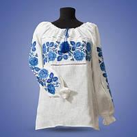 Льняная вышитая женская рубашка синим крестиком