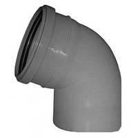 Отвод (колено) 110х67º ПП Инсталпласт с раструбом и уплотнительным кольцом для внутренней канализации серый