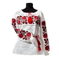 Женская вышитая рубашка красным крестиком