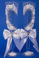 """Свадебные бокалы """"Белое сердце"""""""
