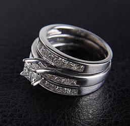 Жіноче кільце з білого золота з діамантами С31Л1№1