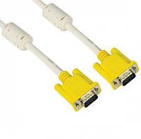 Кабель VGA 3+6 HIGH SPEED 5m, male to male (папа-папа), 1 феррит, серо-желтый, кулёк 1080P Q65