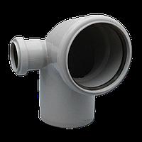 Колено сложное 110х50х90º левое ПП Инсталпласт с раструбом и уплотнительным кольцом для внутренней канализации