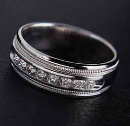 Жіноче кільце з білого золота з діамантами С30Л1№5