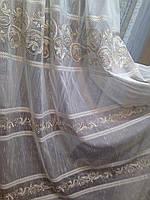 Тюль лен с вышивкой лоза
