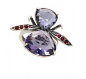 """Кольцо """"Диса"""" с кристаллами Swarovski, покрытое серебром (j1173070) (Безразмер)"""