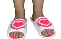 """Прикольные домашние флисовые тапочки - шлепанцы """"Сердце"""". Тапочки для всей семьи - любой цвет и размер!"""