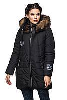 Женская зимняя куртка с капюшоном черная, фото 1