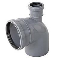 Колено сложное 110х50х90º вверх ПП Инсталпласт с раструбом и уплотнительным кольцом для внутренней канализации