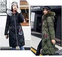Стеганная удлиненая куртка пальто пуховик с капюшоном приталенная