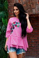 Бело-розовая хлопковая блузка с вышивкой
