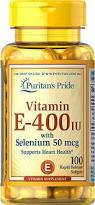 Витамин Е, Puritan's Pride Vitamin E-400 IU with Selenium 50 mcg 100 Softgels