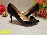 Туфли женские лодочки с бантом черные , фото 1