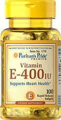 Витамин Е  Puritan's Pride Vitamin E-400 IU 100 Softgels