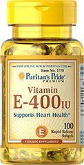 Витамин Е  Puritan's Pride Vitamin E-400 IU 100 Softgels, фото 2