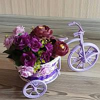 Декоративная корзина на колесах, велосипед, сирень