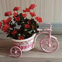 Декоративная корзина на колесах, велосипед розовый