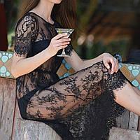 Женский халатик-платье Enni без декольте, халат полностью кружевной, средняя длина. Разные цвета, размеры.