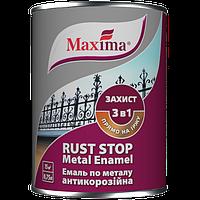 Эмаль антикоррозийная по металлу гладкая 3 в 1 Maxima, черная RAL 9005 0,75 л