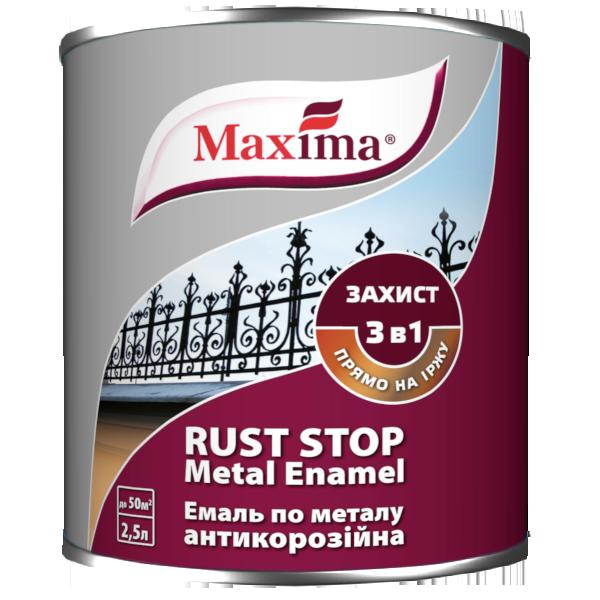 Эмаль антикоррозийная по металлу гладкая 3 в 1 Maxima, черная RAL 9005 2,5 л