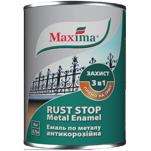 Емаль антикорозійна по металу молоткова 3 в 1 Maxima, срібляста 0,75 л