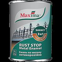 Эмаль антикоррозийная по металлу молотковая 3 в 1 Maxima, темно-коричневая 0,75 л