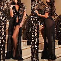 Женский халатик-платье кружевное с пухом Issa, халатик длинный. Разные цвета и размеры., фото 1